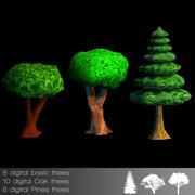 trees cartoon forrest 3d model