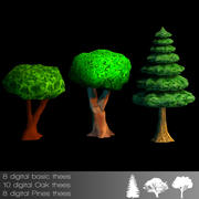 Bäume Cartoon Wald 3d model