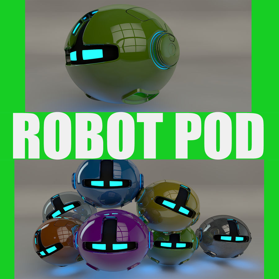 Green Robot Pod V2 royalty-free 3d model - Preview no. 1