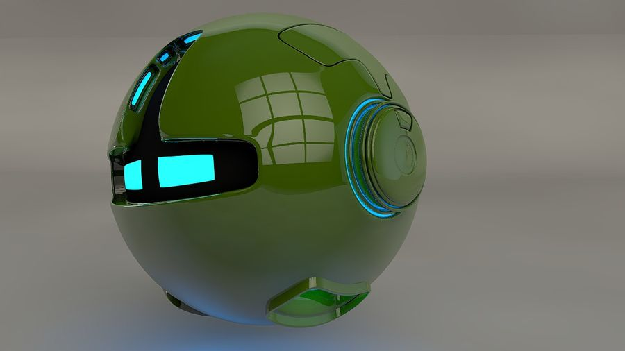 Green Robot Pod V2 royalty-free 3d model - Preview no. 2