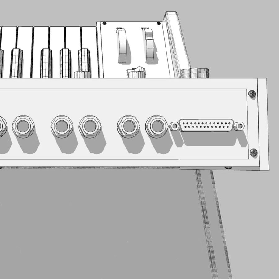 Keyboard / Synthesizer: Moog Voyager: Wood Finish royalty-free 3d model - Preview no. 29