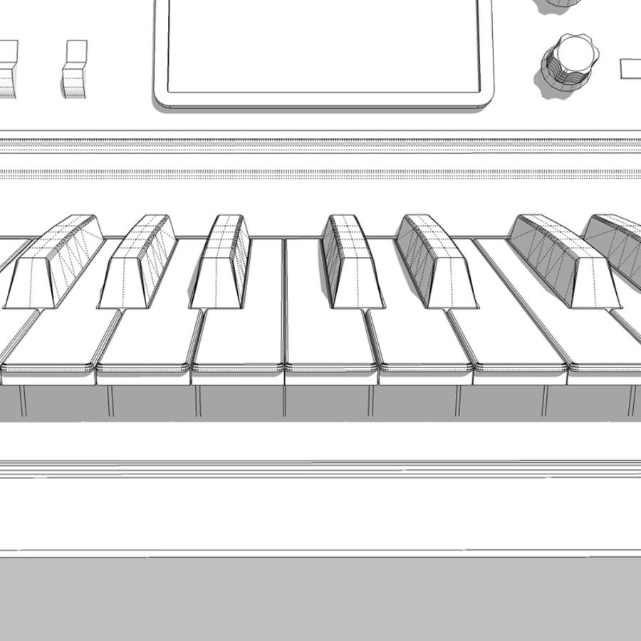 Keyboard / Synthesizer: Moog Voyager: Wood Finish royalty-free 3d model - Preview no. 26