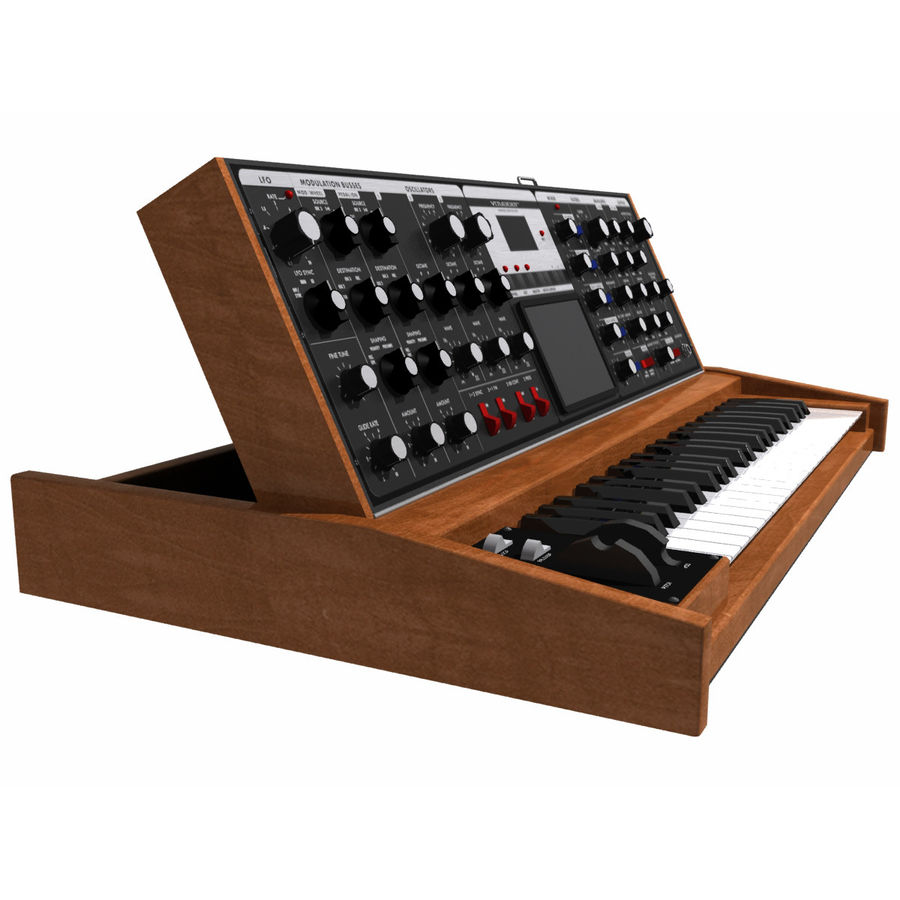 Keyboard / Synthesizer: Moog Voyager: Wood Finish royalty-free 3d model - Preview no. 4