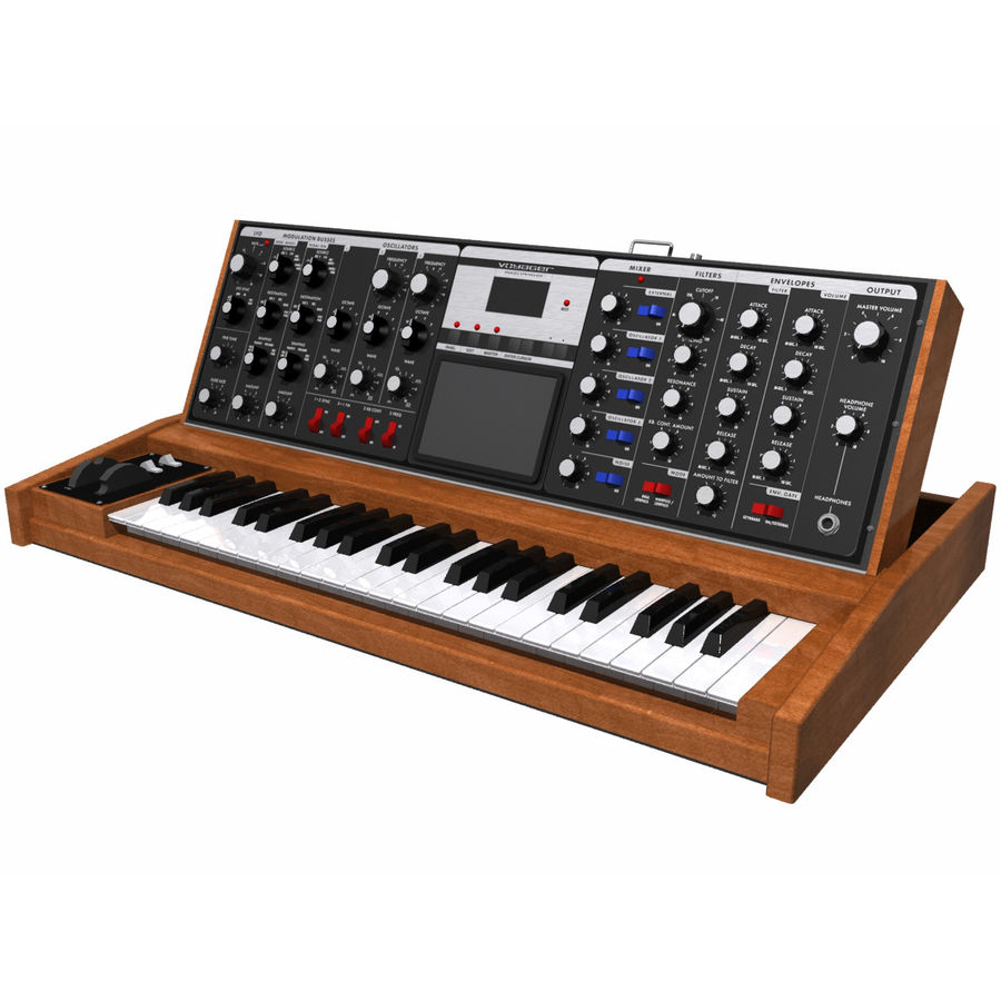 Keyboard / Synthesizer: Moog Voyager: Wood Finish royalty-free 3d model - Preview no. 1