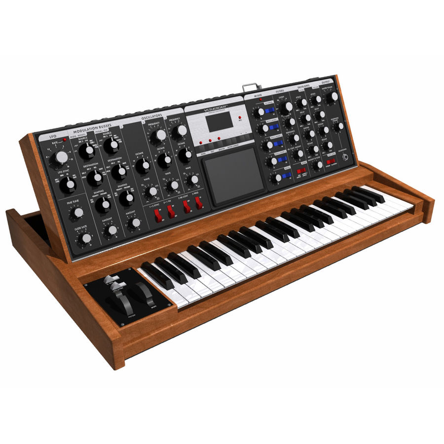 Keyboard / Synthesizer: Moog Voyager: Wood Finish royalty-free 3d model - Preview no. 3