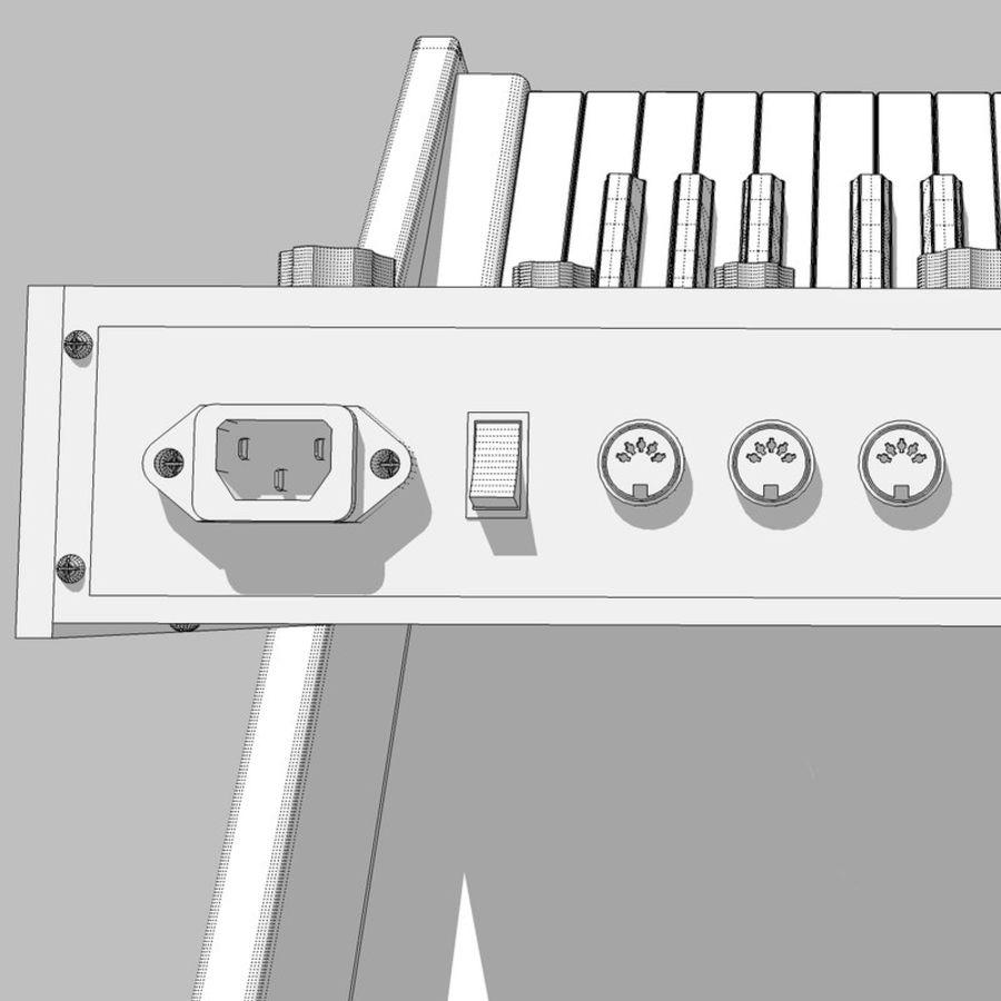 Keyboard / Synthesizer: Moog Voyager: Wood Finish royalty-free 3d model - Preview no. 27