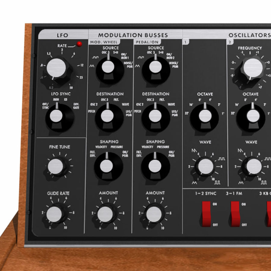 Keyboard / Synthesizer: Moog Voyager: Wood Finish royalty-free 3d model - Preview no. 8