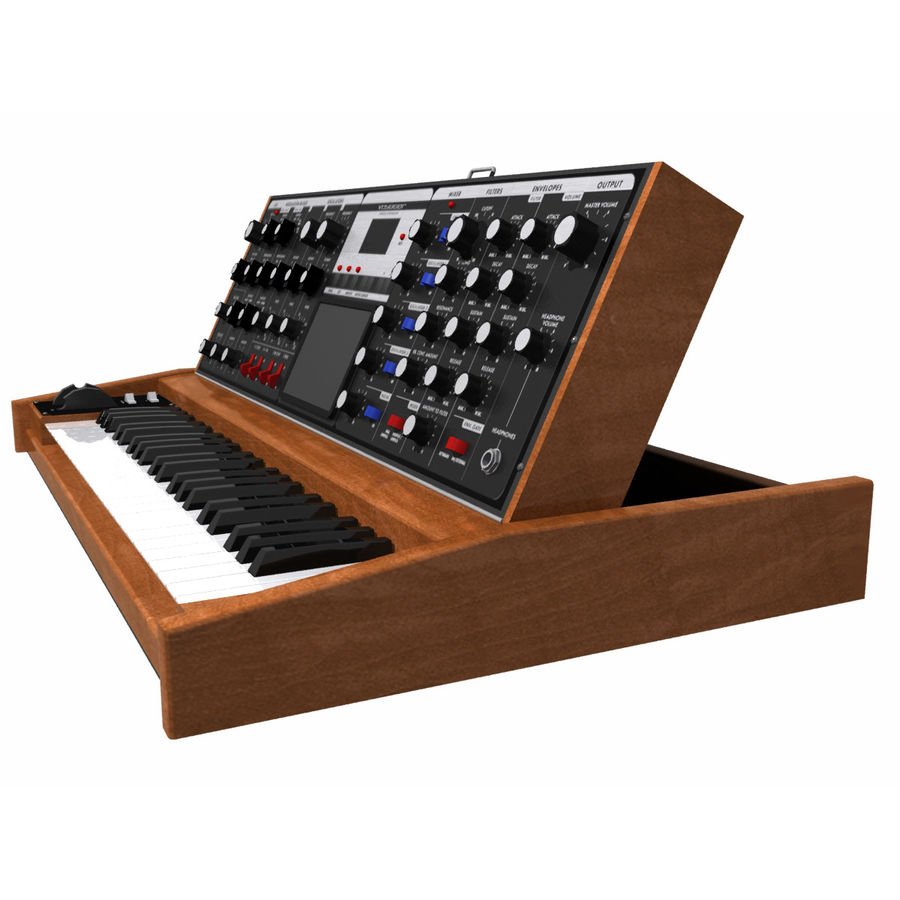 Keyboard / Synthesizer: Moog Voyager: Wood Finish royalty-free 3d model - Preview no. 5
