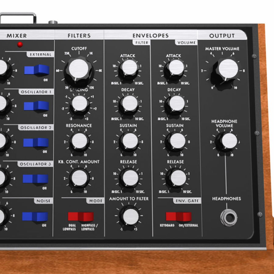 Keyboard / Synthesizer: Moog Voyager: Wood Finish royalty-free 3d model - Preview no. 9