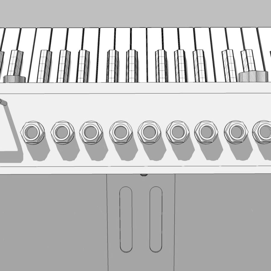 Keyboard / Synthesizer: Moog Voyager: Wood Finish royalty-free 3d model - Preview no. 28