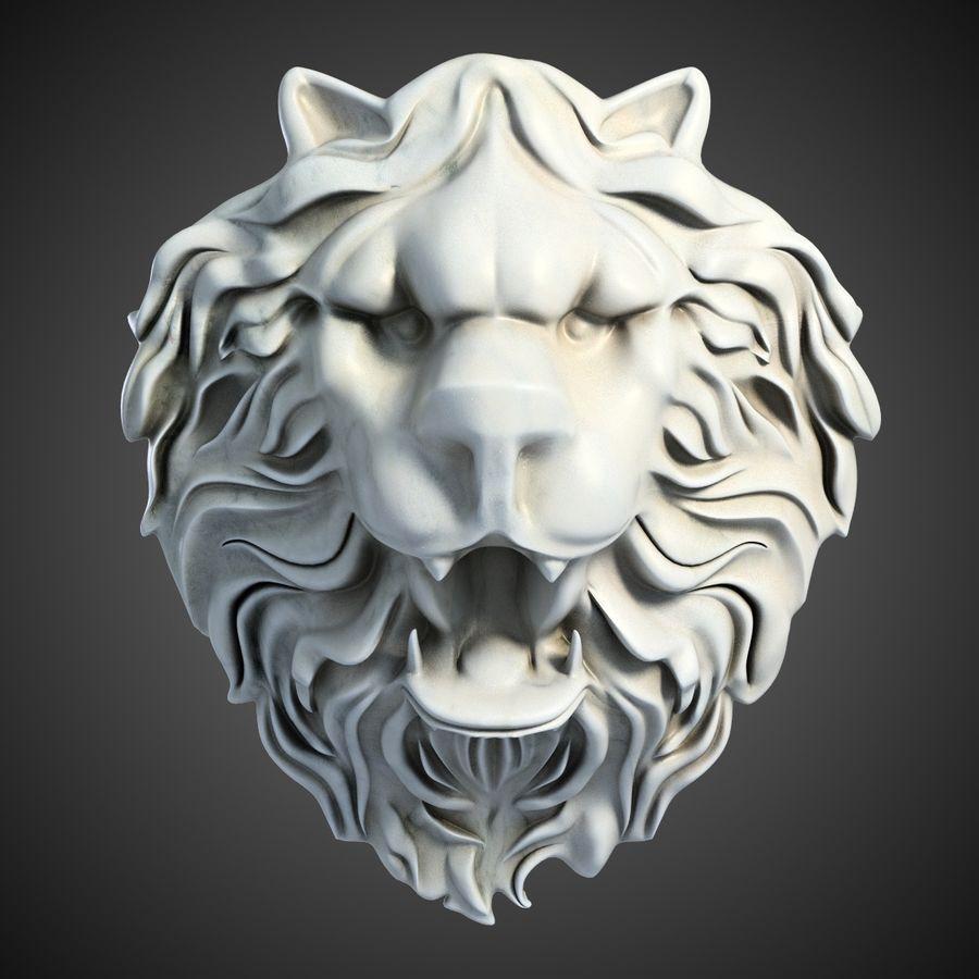 Lion Head Sculpture 2 royalty-free 3d model - Preview no. 2