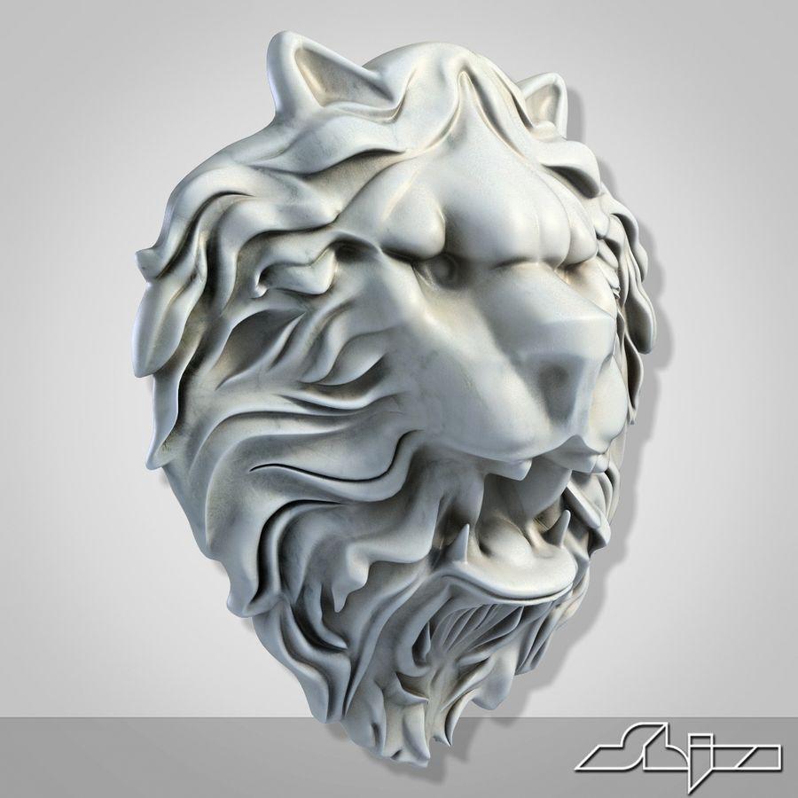 Lion Head Sculpture 2 royalty-free 3d model - Preview no. 3