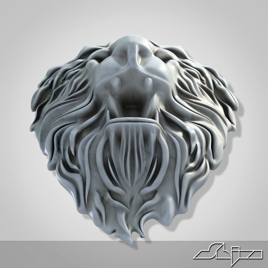 Lion Head Sculpture 2 royalty-free 3d model - Preview no. 8