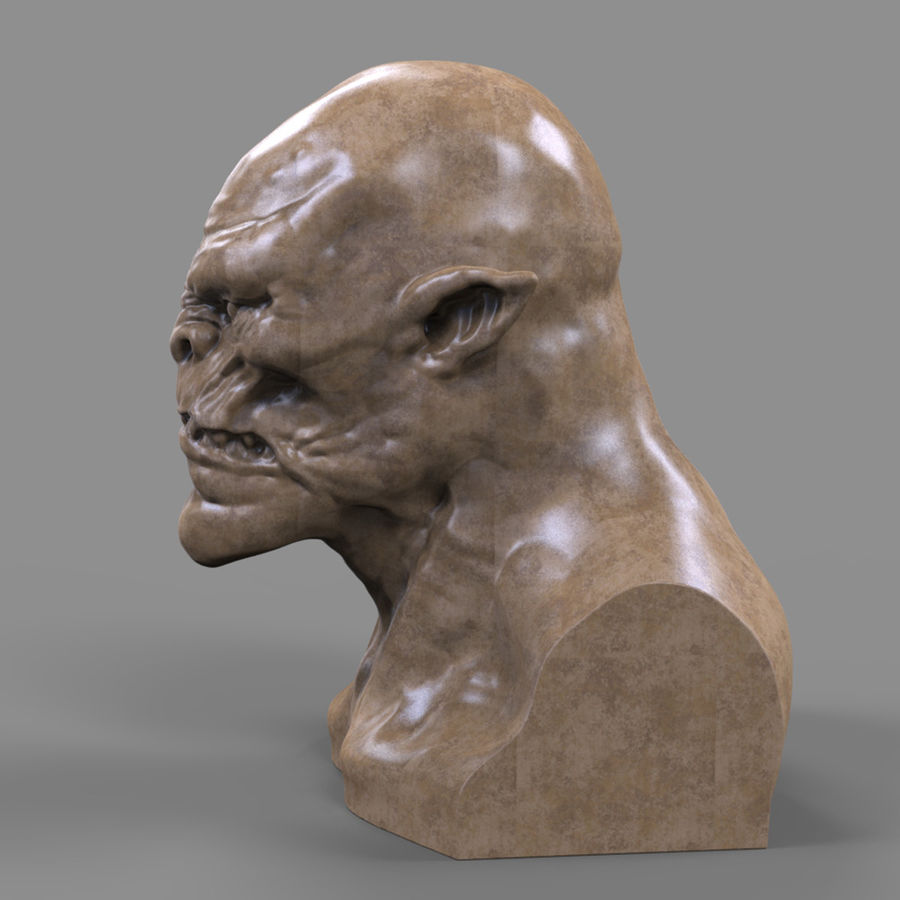 Orc Head 3D Print royalty-free 3d model - Preview no. 8