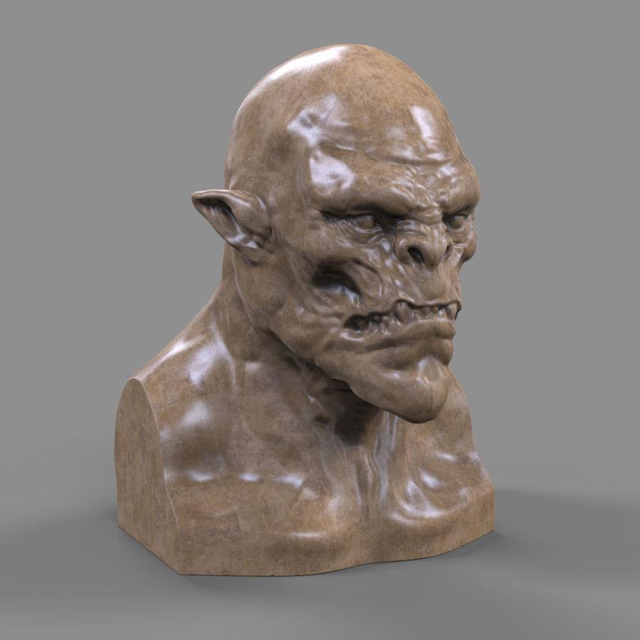 Orc Head 3D Print royalty-free 3d model - Preview no. 4