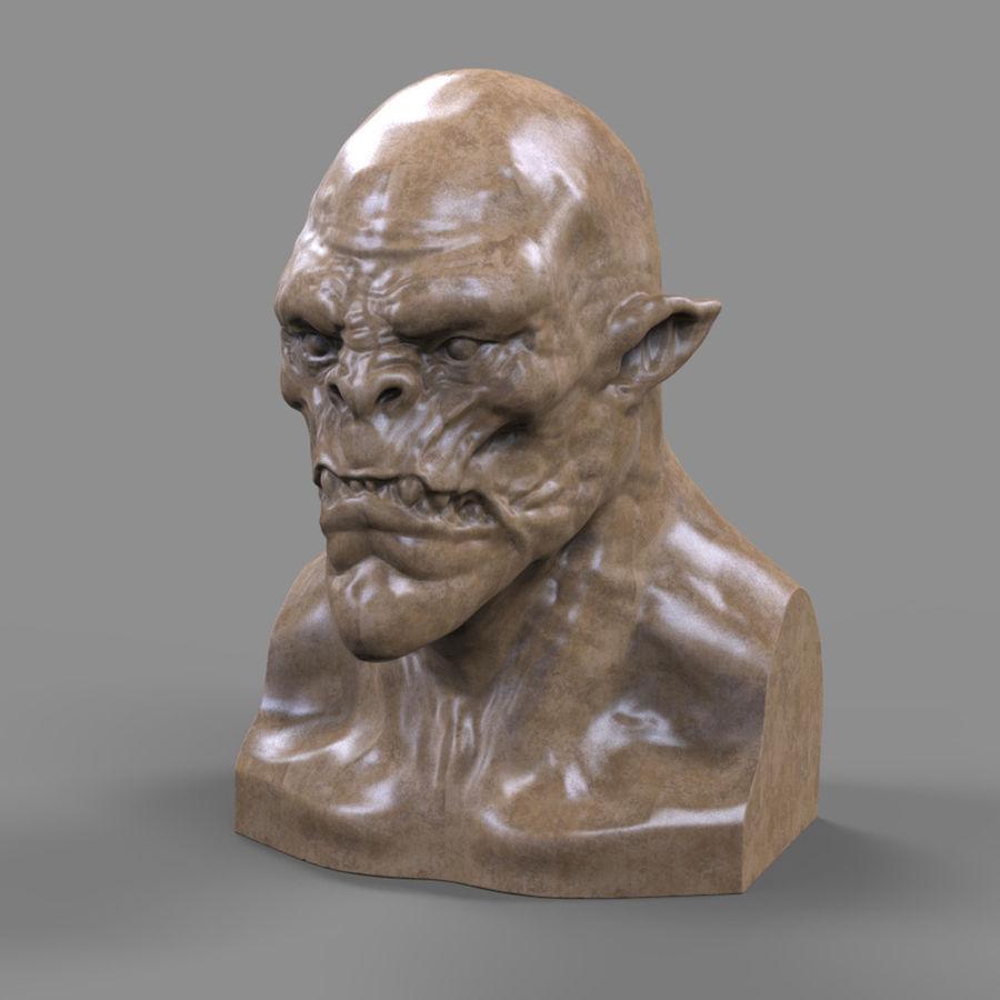 Orc Head 3D Print royalty-free 3d model - Preview no. 2