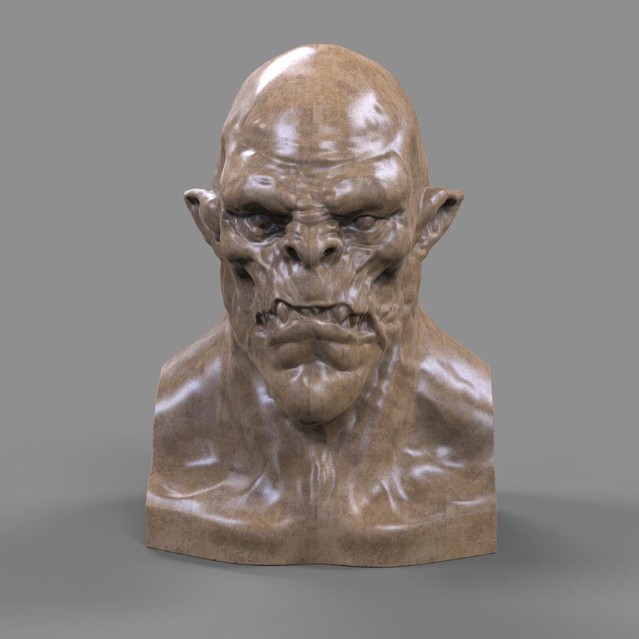 Orc Head 3D Print royalty-free 3d model - Preview no. 3