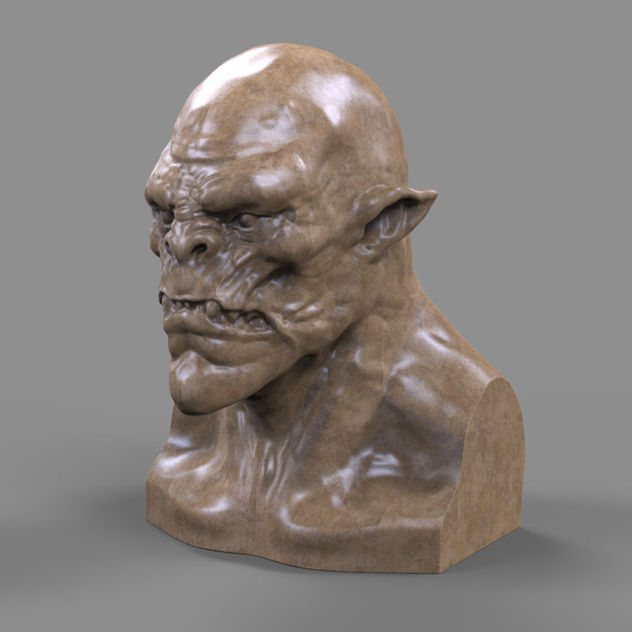 Orc Head 3D Print royalty-free 3d model - Preview no. 1