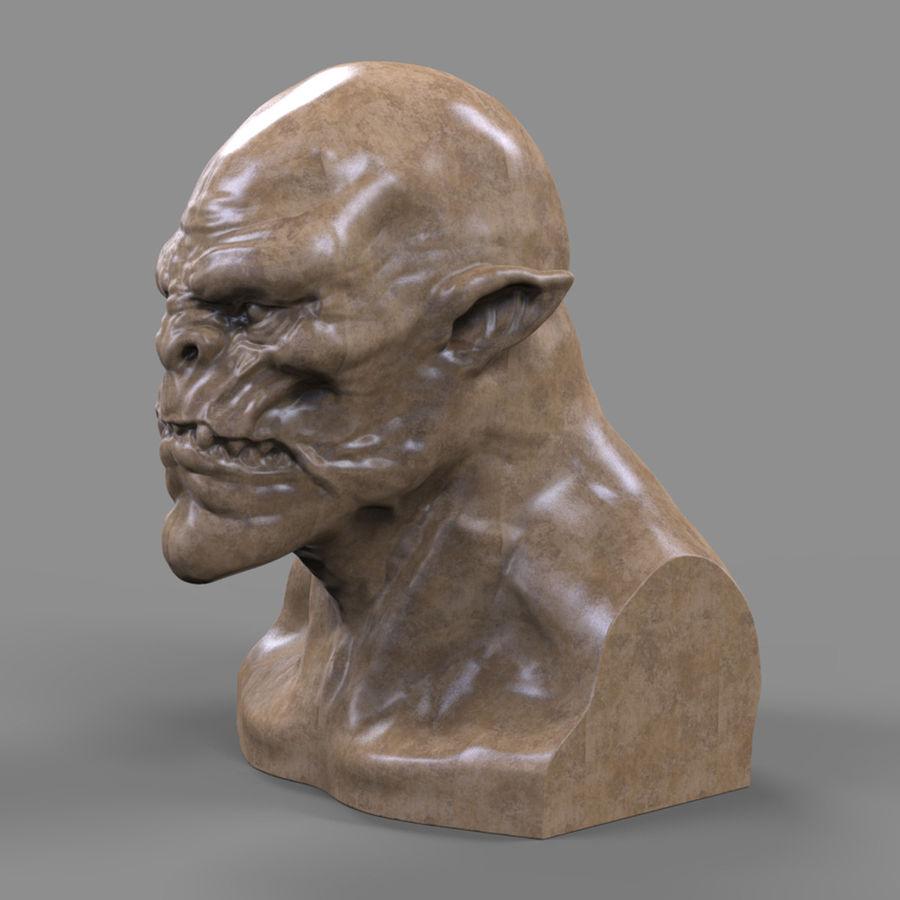 Orc Head 3D Print royalty-free 3d model - Preview no. 9
