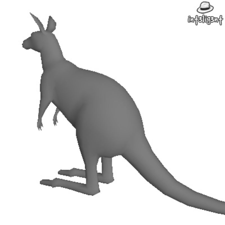 Low Poly Kangaroo royalty-free 3d model - Preview no. 3