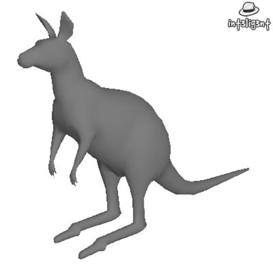 Low Poly Kangaroo royalty-free 3d model - Preview no. 1