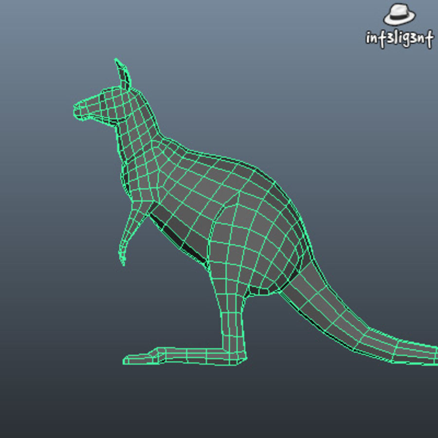 Low Poly Kangaroo royalty-free 3d model - Preview no. 5