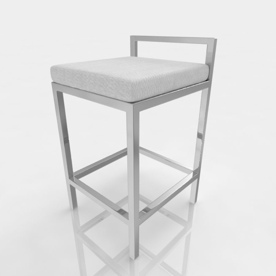 Bar stool 17 white canvas royalty-free 3d model - Preview no. 4