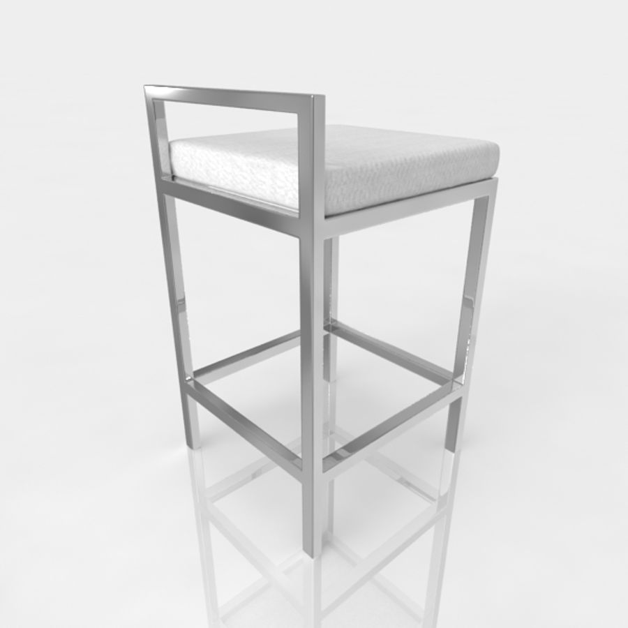 Bar stool 17 white canvas royalty-free 3d model - Preview no. 3