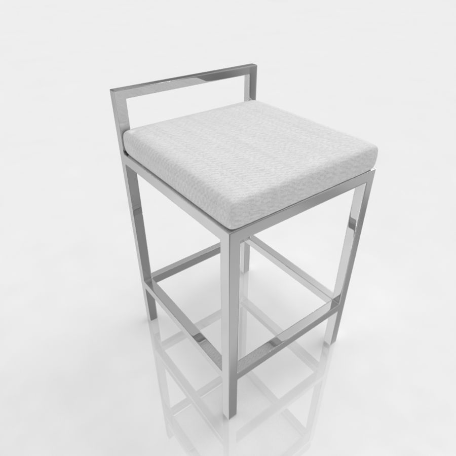 Bar stool 17 white canvas royalty-free 3d model - Preview no. 1