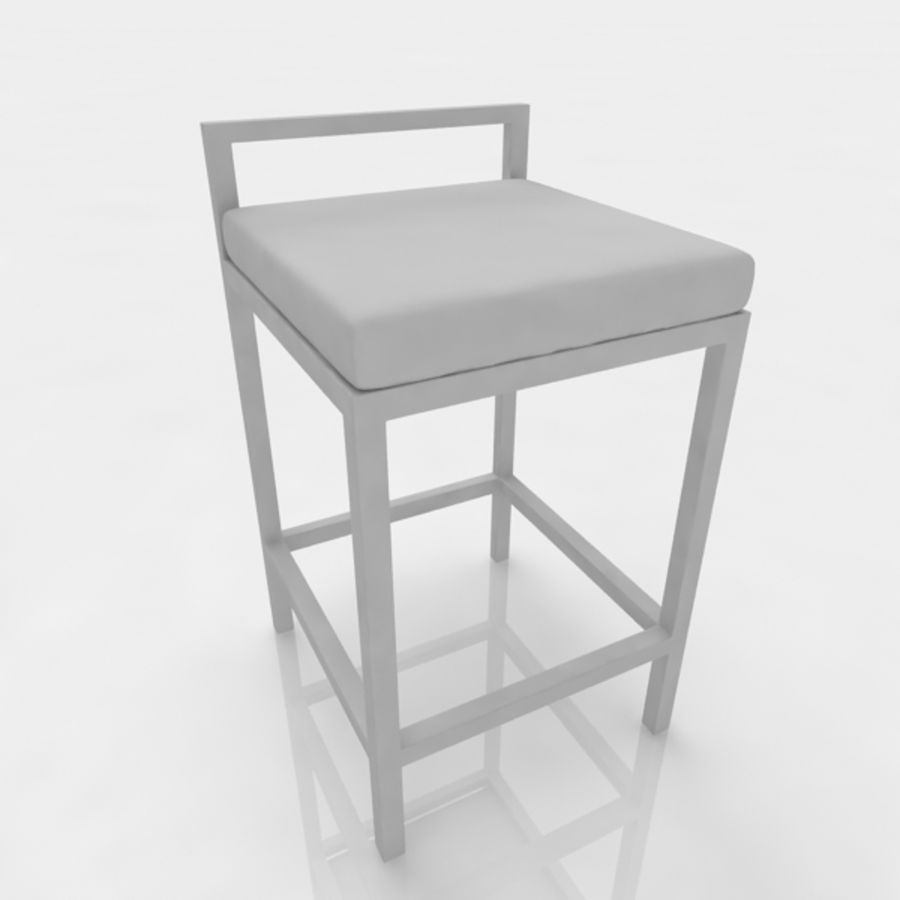 Bar stool 17 white canvas royalty-free 3d model - Preview no. 7