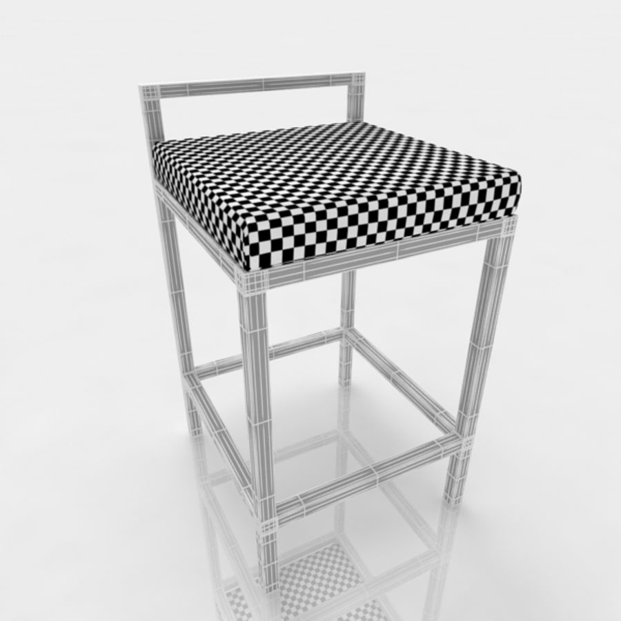 Bar stool 17 white canvas royalty-free 3d model - Preview no. 6