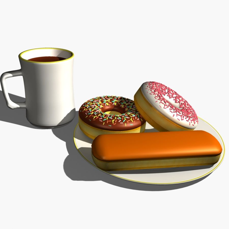 Coffee and Donuts royalty-free 3d model - Preview no. 1
