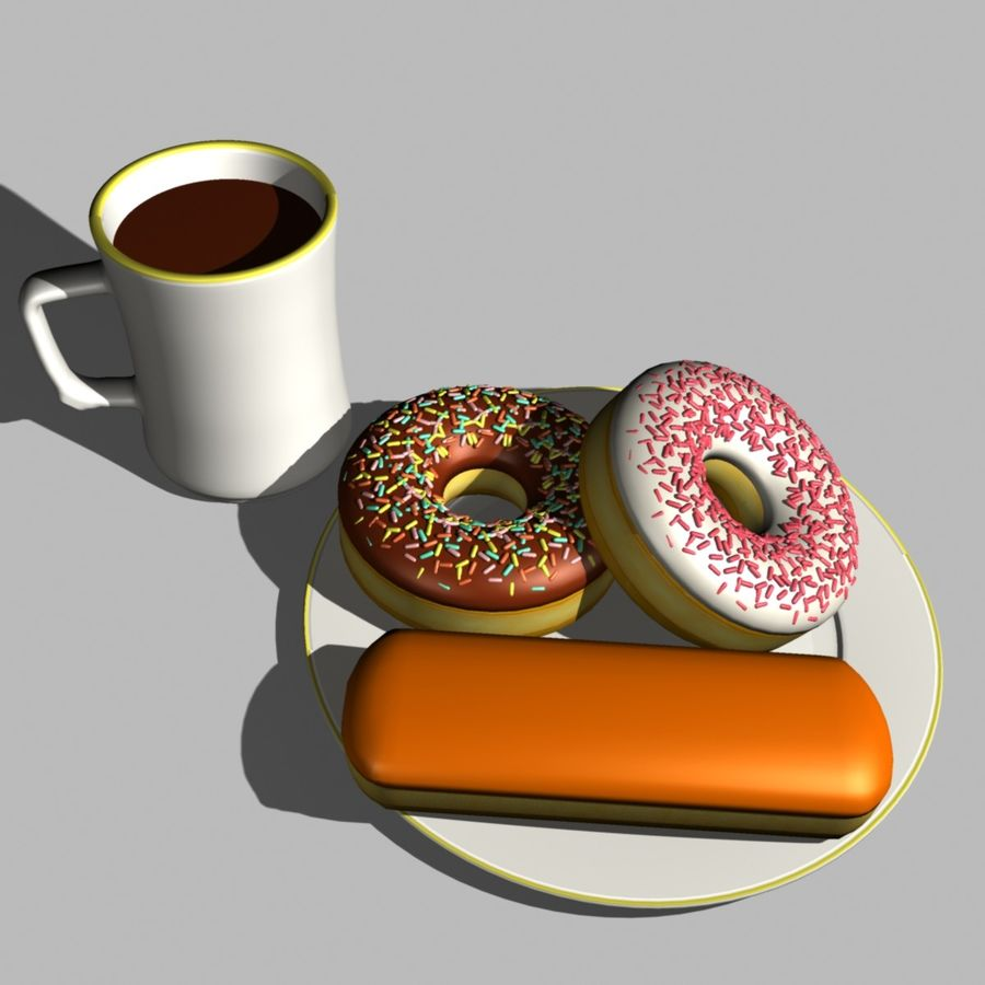 Coffee and Donuts royalty-free 3d model - Preview no. 4