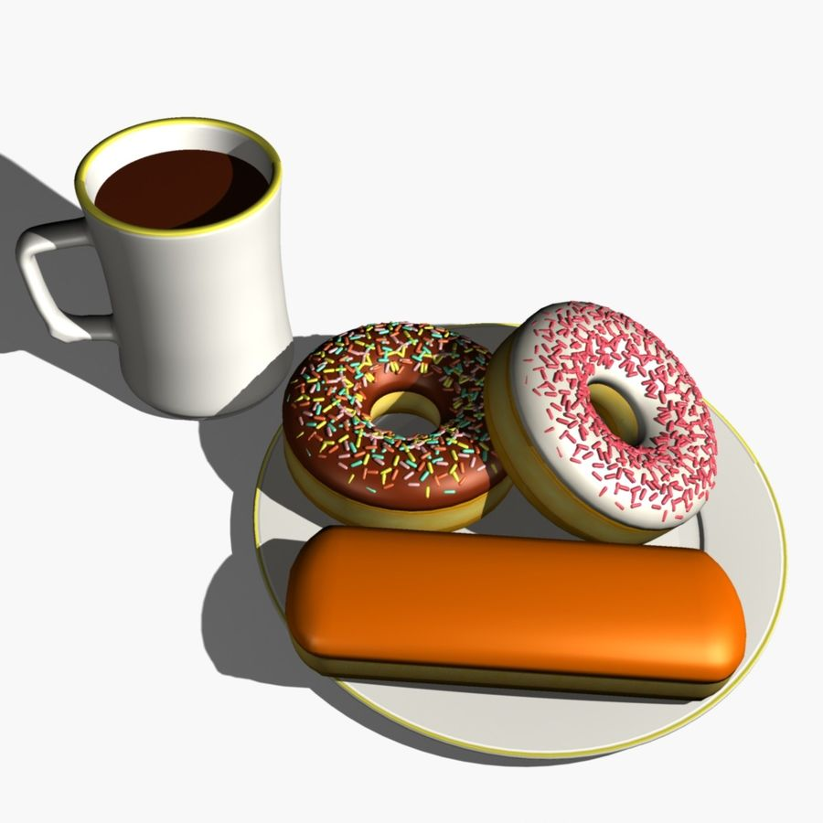 Coffee and Donuts royalty-free 3d model - Preview no. 3