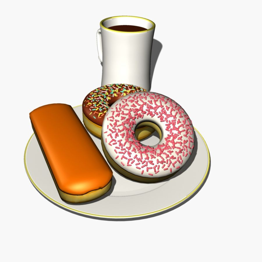 Coffee and Donuts royalty-free 3d model - Preview no. 2