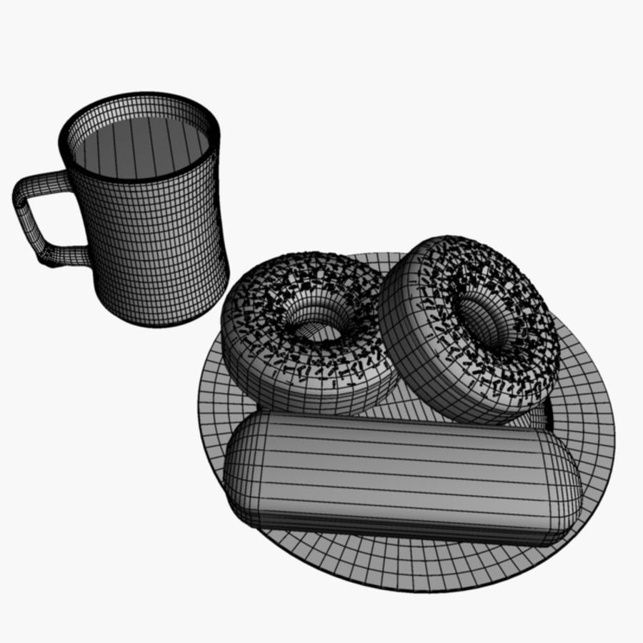 Coffee and Donuts royalty-free 3d model - Preview no. 5