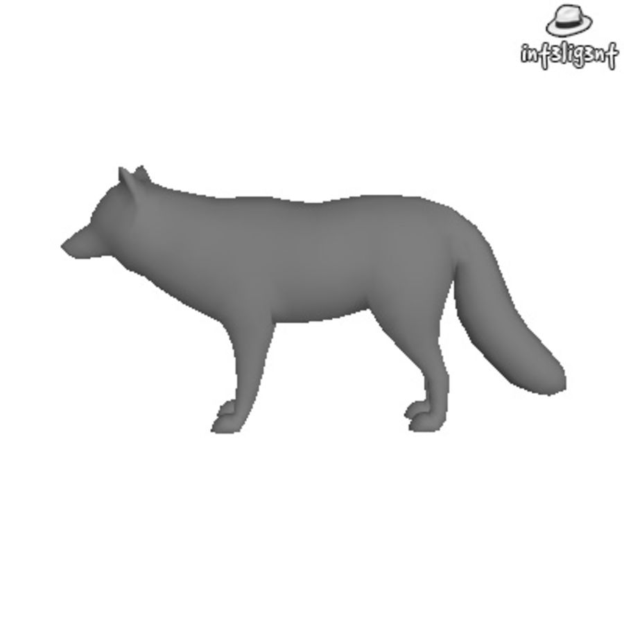 Low Poly Fox royalty-free 3d model - Preview no. 2
