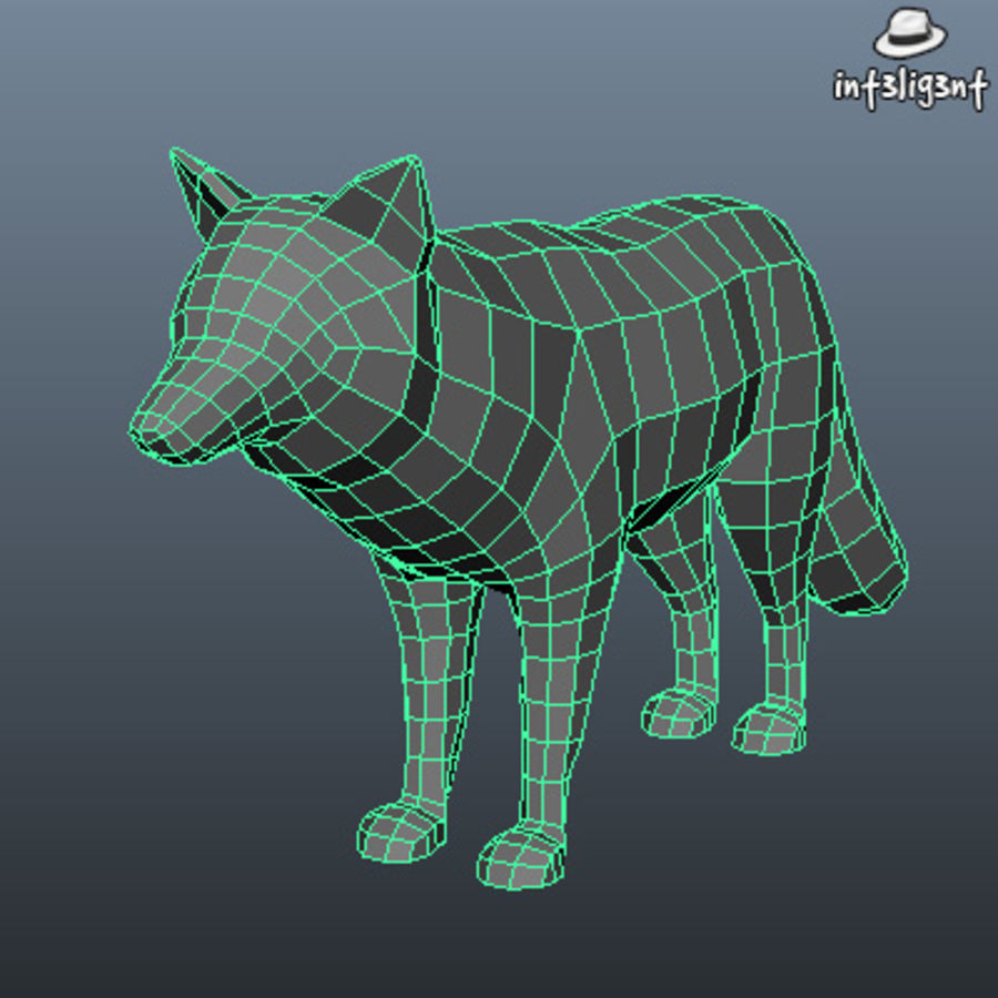 Low Poly Fox royalty-free 3d model - Preview no. 4