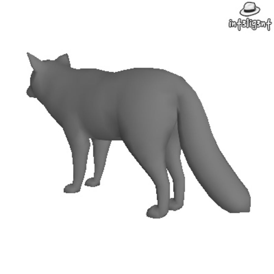 Low Poly Fox royalty-free 3d model - Preview no. 3