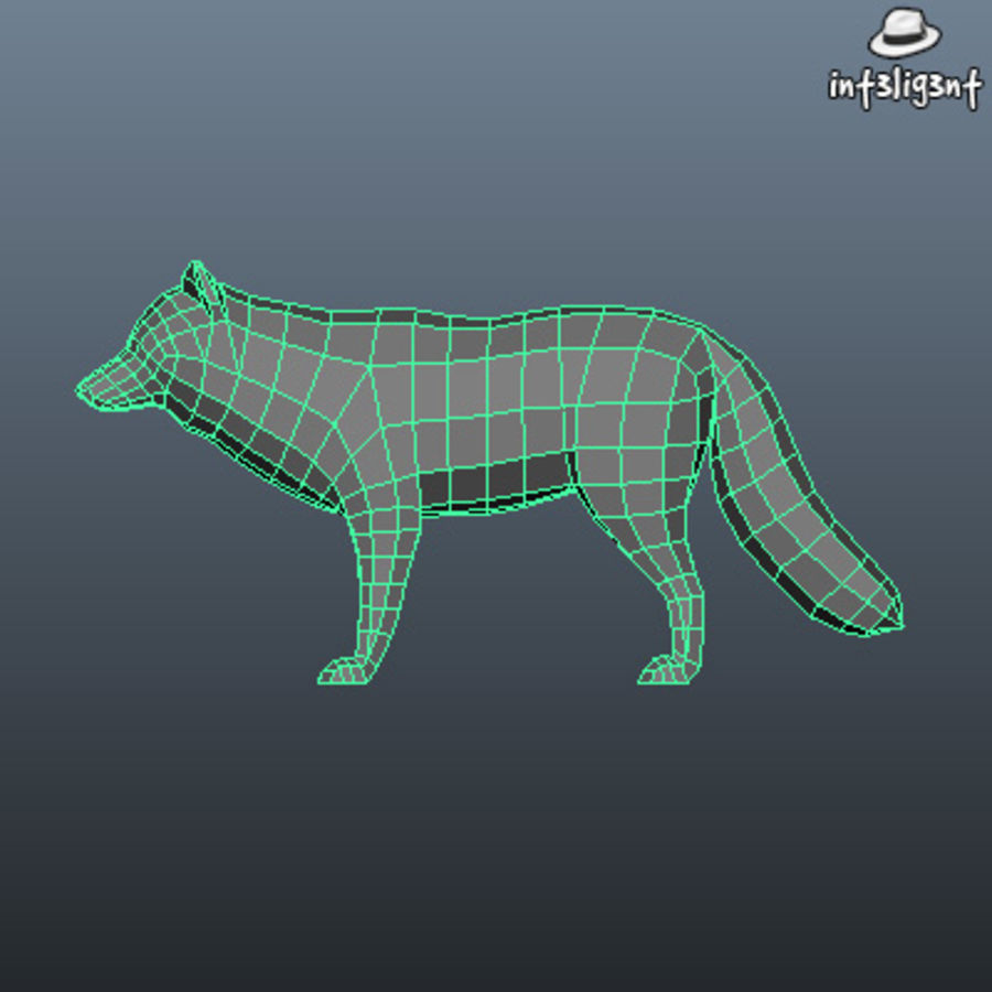 Low Poly Fox royalty-free 3d model - Preview no. 5