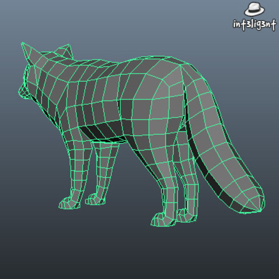 Low Poly Fox royalty-free 3d model - Preview no. 6