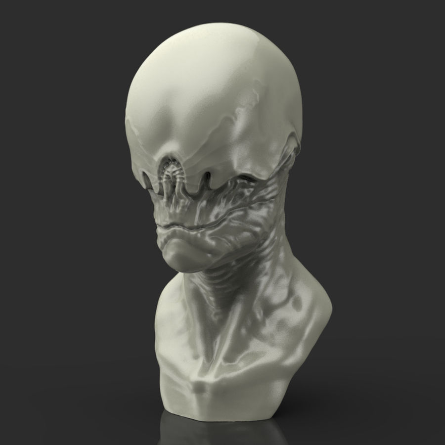 Alien Bust sculpture royalty-free 3d model - Preview no. 9