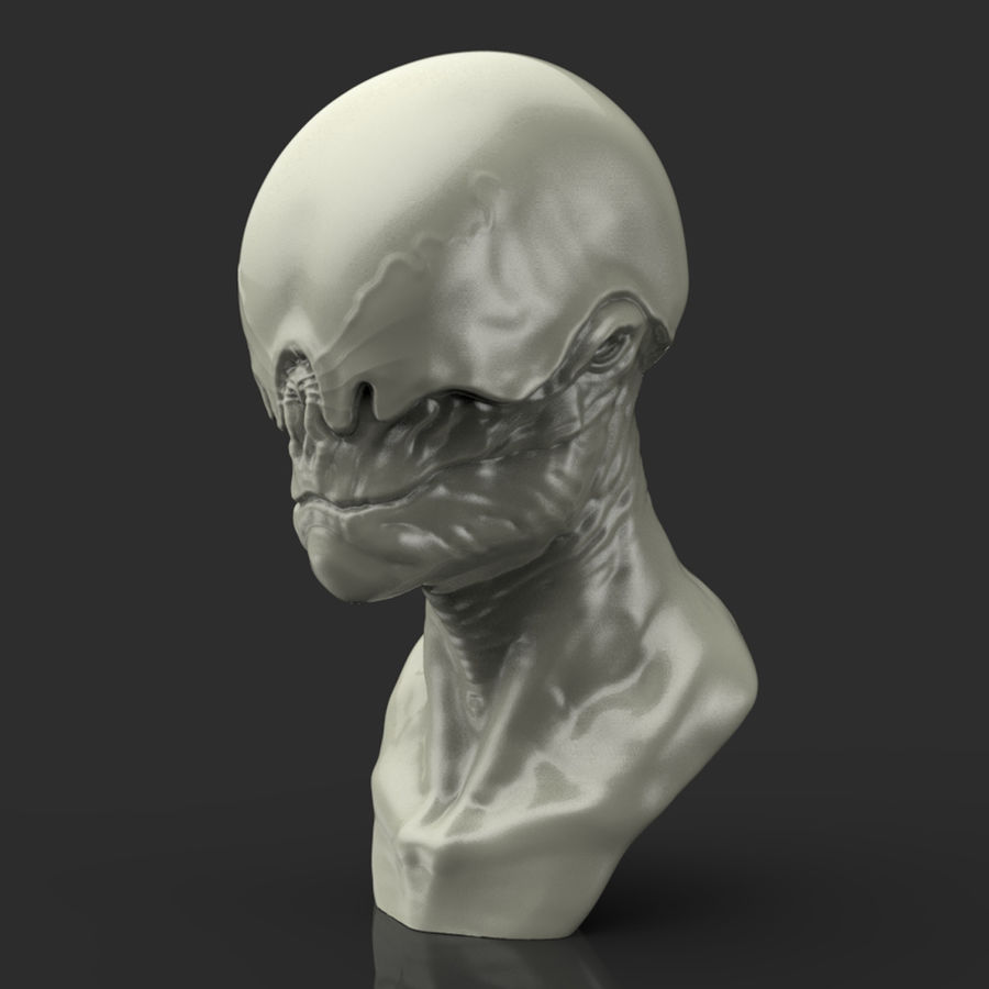 Alien Bust sculpture royalty-free 3d model - Preview no. 1