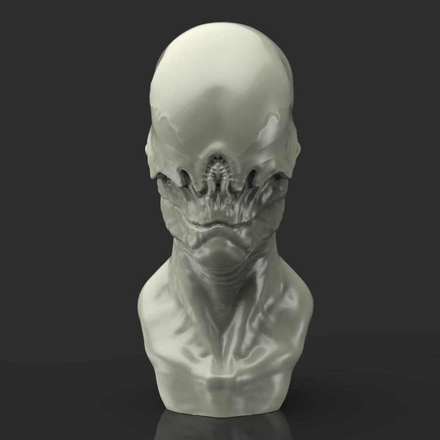 Alien Bust sculpture royalty-free 3d model - Preview no. 5