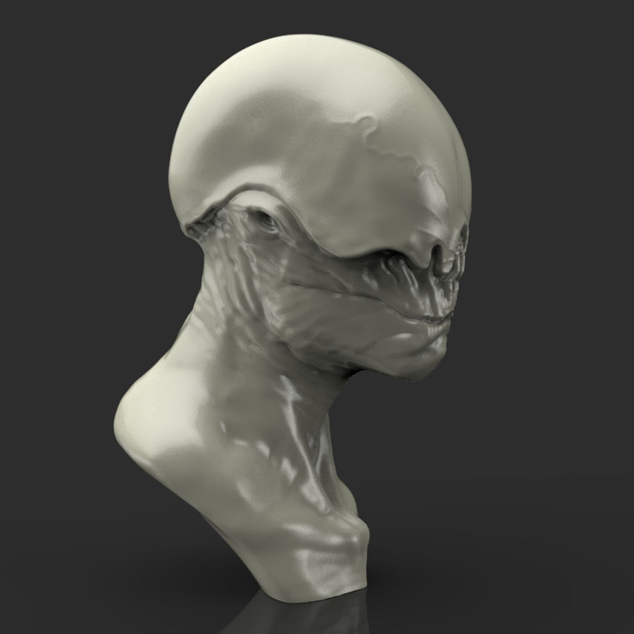 Alien Bust sculpture royalty-free 3d model - Preview no. 8