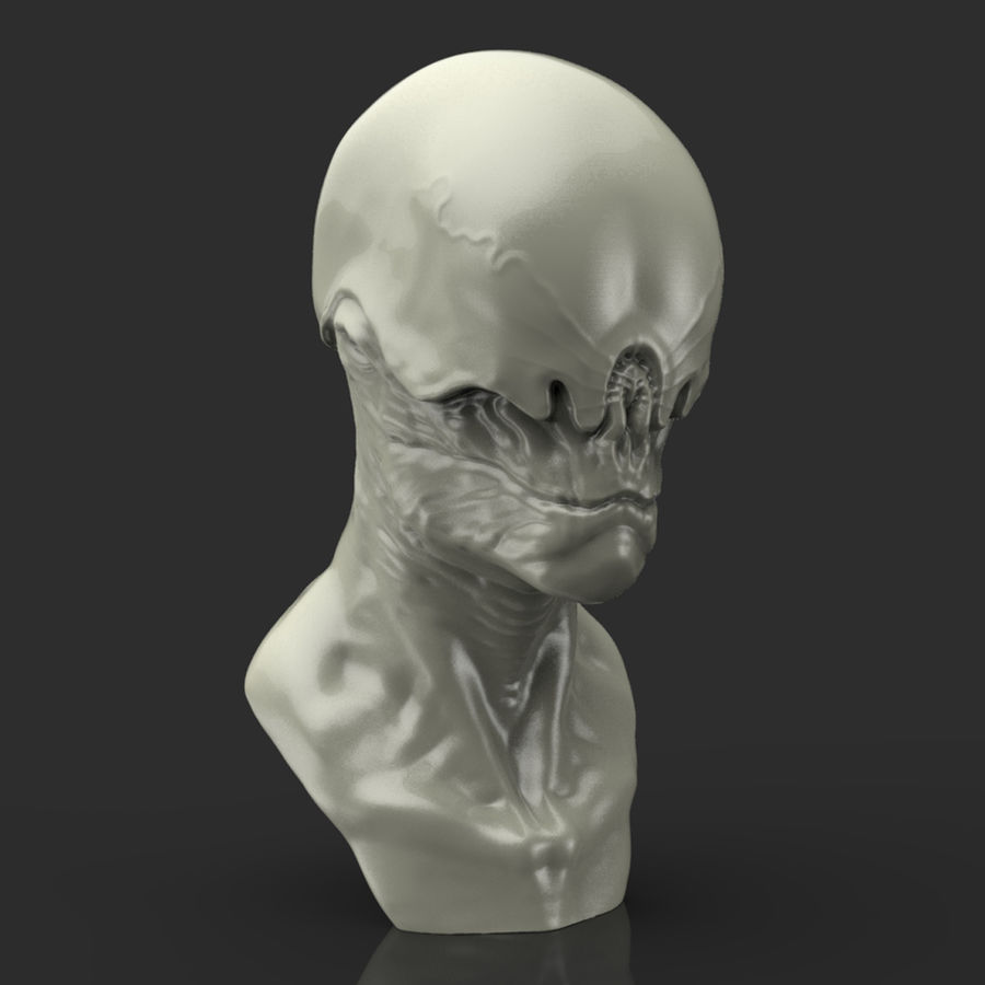 Alien Bust sculpture royalty-free 3d model - Preview no. 6