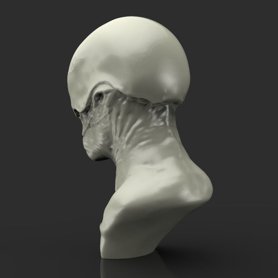 Alien Bust sculpture royalty-free 3d model - Preview no. 3