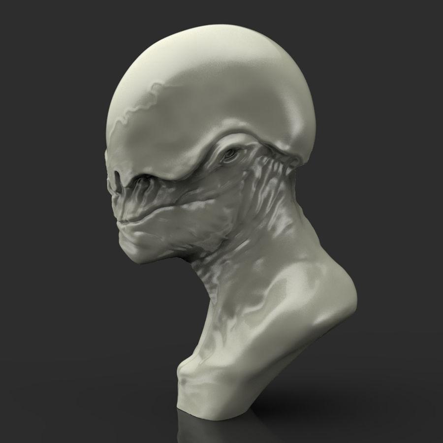 Alien Bust sculpture royalty-free 3d model - Preview no. 2
