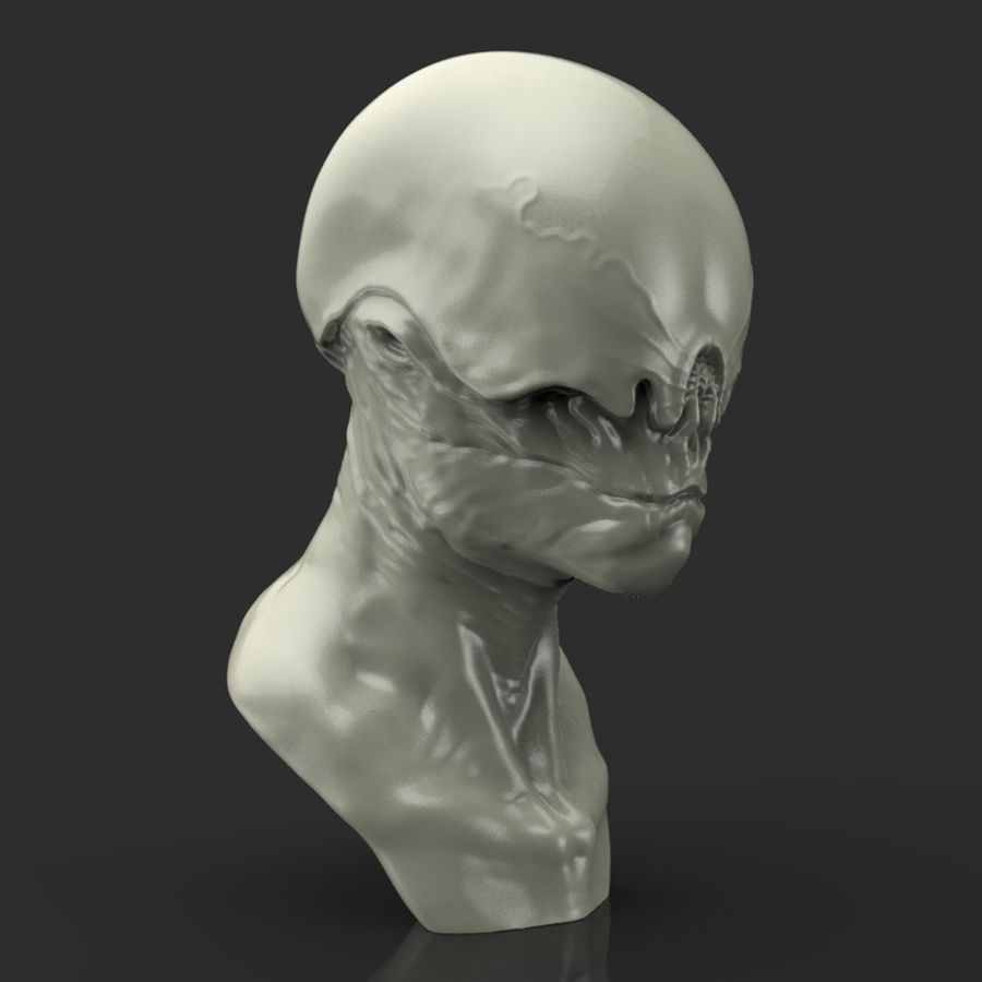 Alien Bust sculpture royalty-free 3d model - Preview no. 7