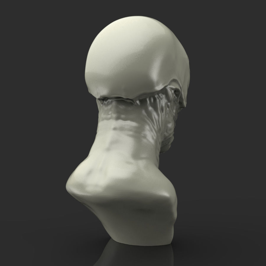 Alien Bust sculpture royalty-free 3d model - Preview no. 4